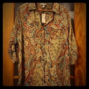 Dress Barn button front blouse Paisley size 1X NWT